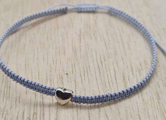Silk and sterling silver macramé bracelet
