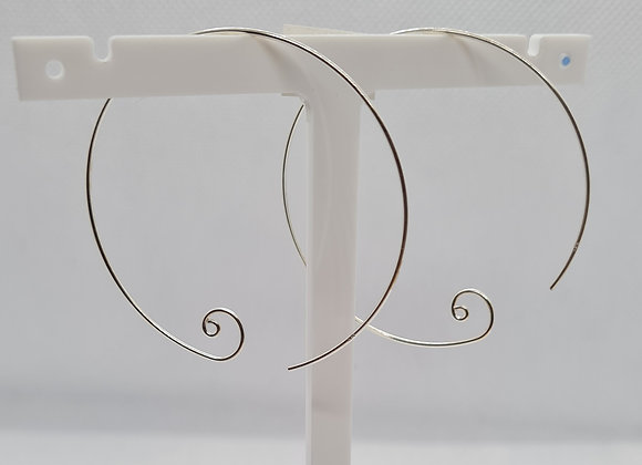 Large sterling silver curl hoops