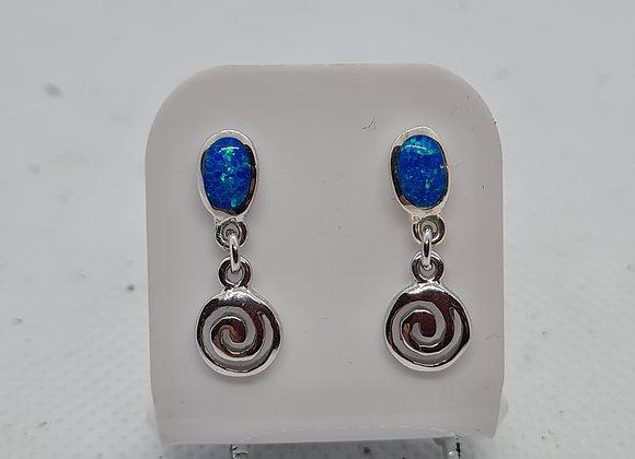 Blue opal drop studs