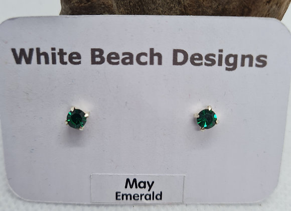Sterling silver birthstone studs May