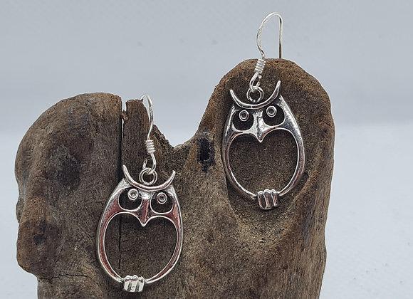 Cute owl drop starling silver earrings