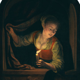 Gerrit Dou joven con una vela a la venta