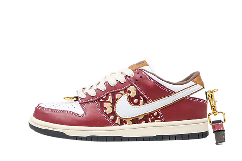 Dior x Nike SB Dunk Low Burgundy White With Brass Linkage Hardware
