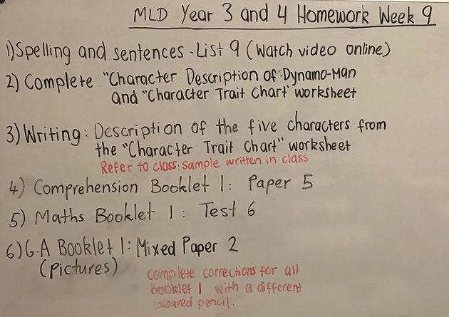 Merrylands Year 3 and 4 Homework Term 1 (Week 9)