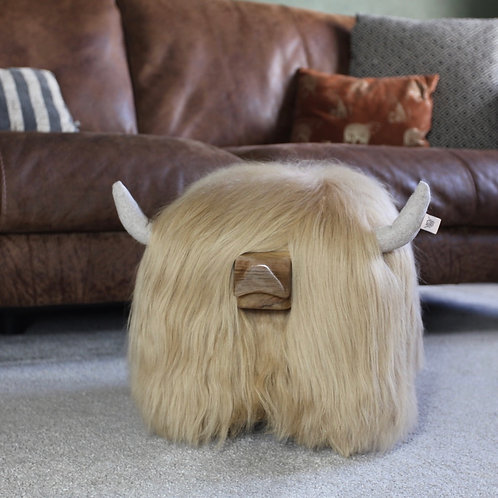 Highland Cow Footstool - Blonde