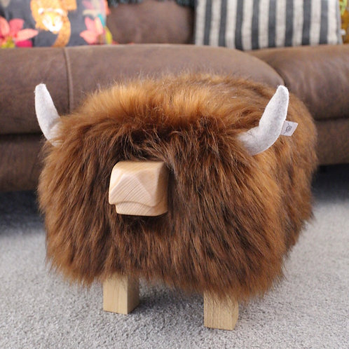 Highland Cow Footstool - Faux Brown