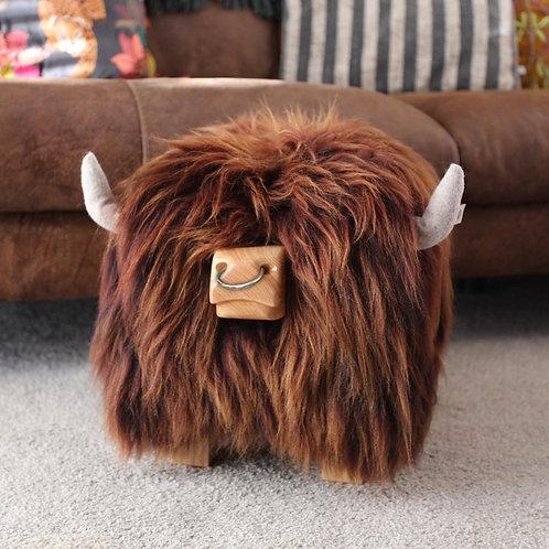 Highland Bull Footstool - Cedar + Nose Ring