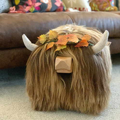 """AUTUMN EDITION Highland Cow Footstool - """"Maple"""" - Colour Natural Brown"""