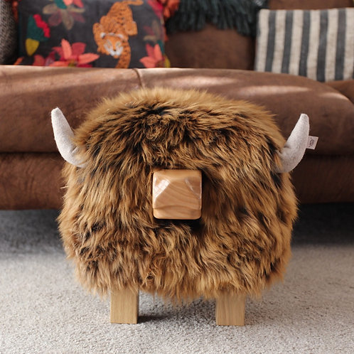 Highland Cow Footstool - Gingerbread