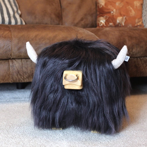 Highland Bull Footstool - Steel with Nose ring