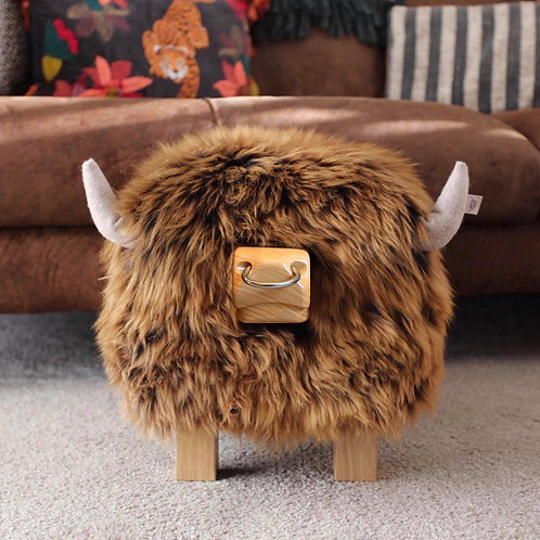 Highland Bull Footstool - Gingerbread + Nose Ring