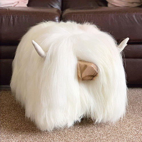 Highland Cow Footstool - White
