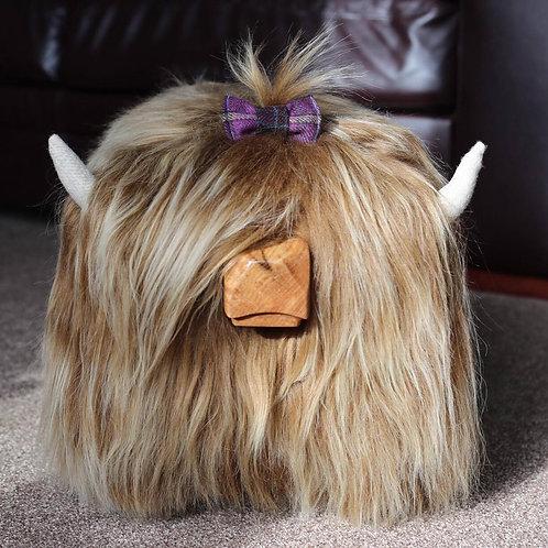 Hair Bow - Purple Tweed