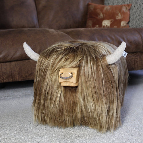 Highland Bull Footstool - Honey with Nose ring