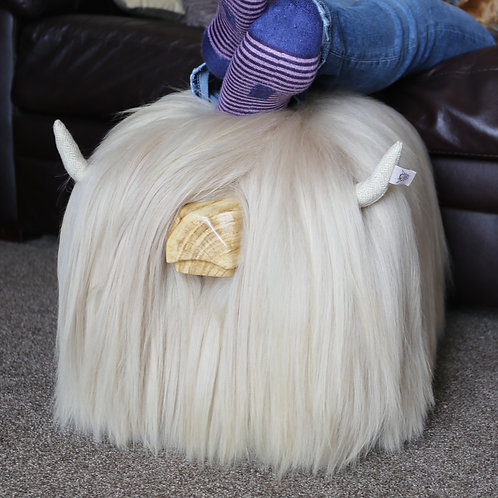 Highland Cow Footstool - Silver Dun
