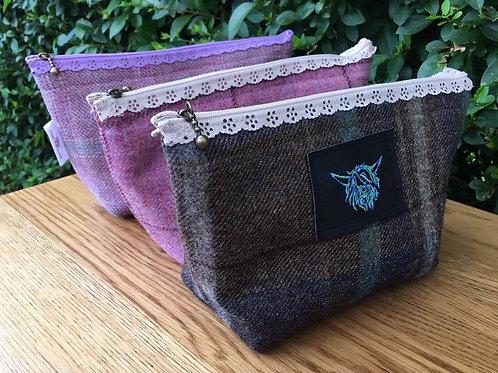 Tweed Make-up Bags