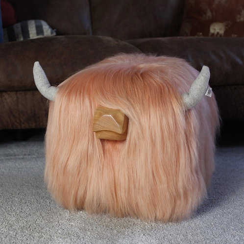Highland Cow Footstool - Peaches