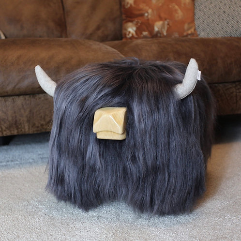 Highland Cow Footstool - Steel