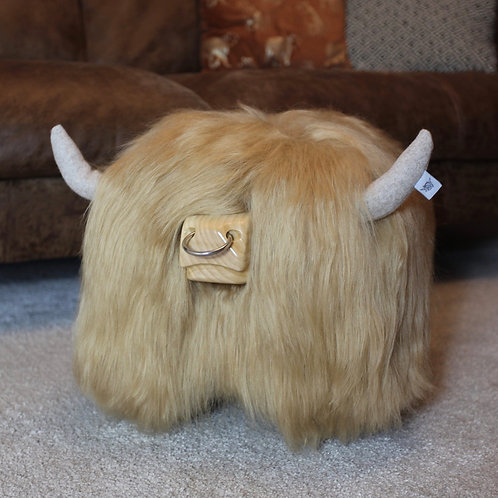 Highland Cow Footstool - Blonde with Nose ring