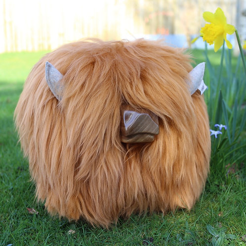 Highland Calf Footstool - Gingersnap