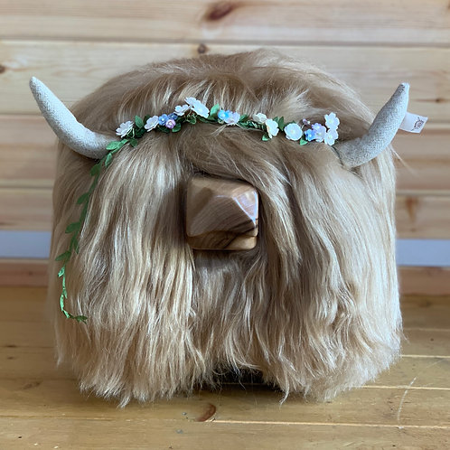 Highland Cow Footstool -Blonde
