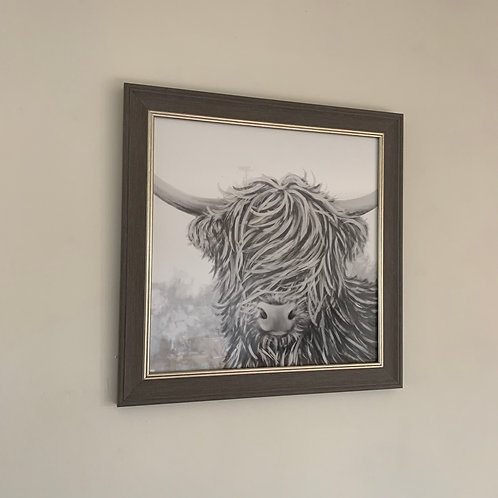 Highland Cow Print in Frame - Grey
