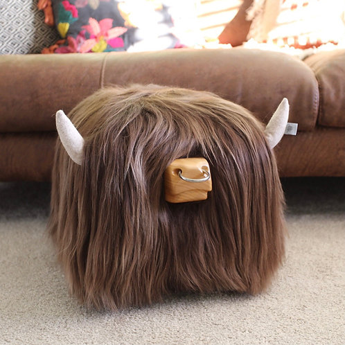 Highland Bull Footstool - Ash with Nose ring