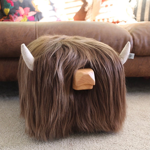 Highland Cow Footstool - Ash