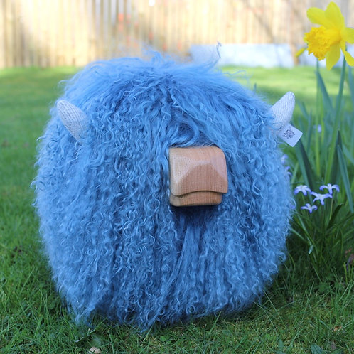 Highland Calf Footstool - Blue