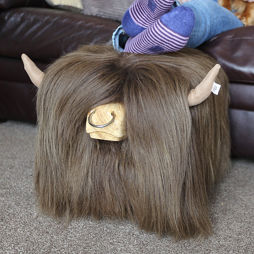 Highland Cow Footstool - Dark Brown with Nosering