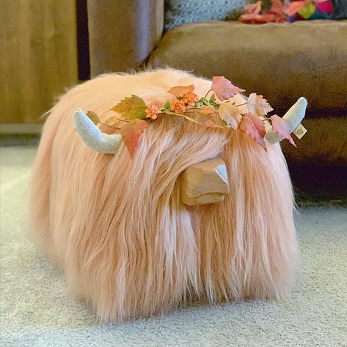 "AUTUMN EDITION Highland Cow Footstool - ""Peaches"" - Colour Peach"
