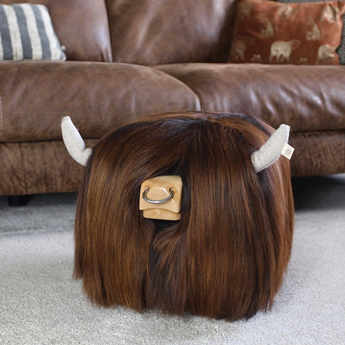 Highland Bull Footstool - Chestnut with Nose ring