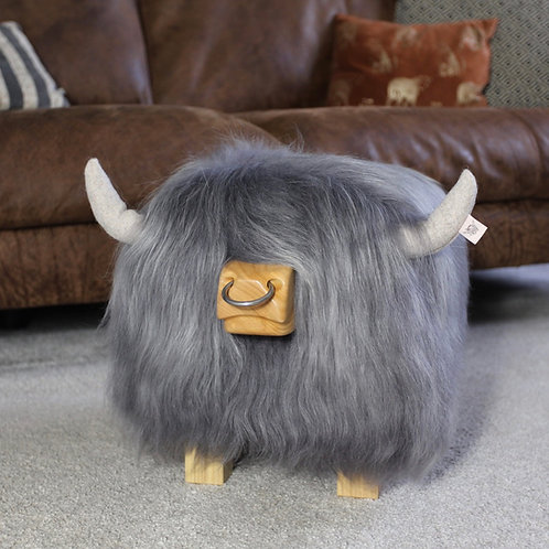Highland Cow Footstool - Light Grey with Nose ring
