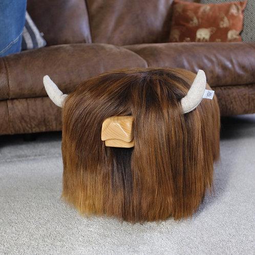 Highland Cow Footstool Tweed Yourself Chestnut