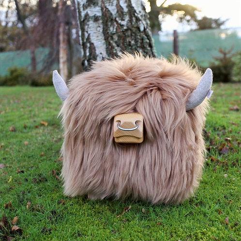 Highland Bull Footstool - Butterscotch + Nose ring