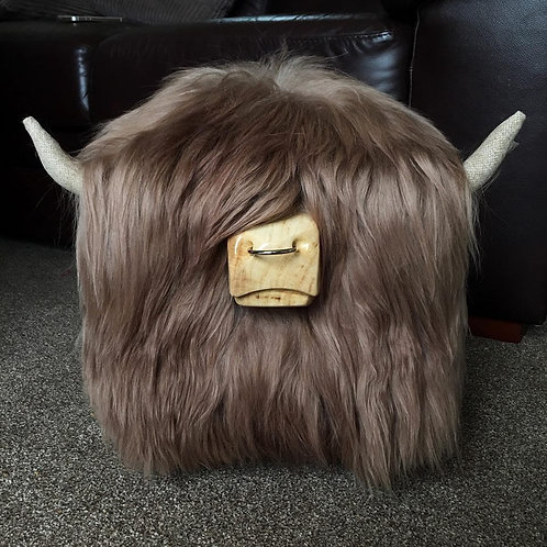 Highland Cow Footstool - Mink with Nose Ring