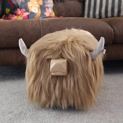 Highland Cow Footstool - Butterscotch