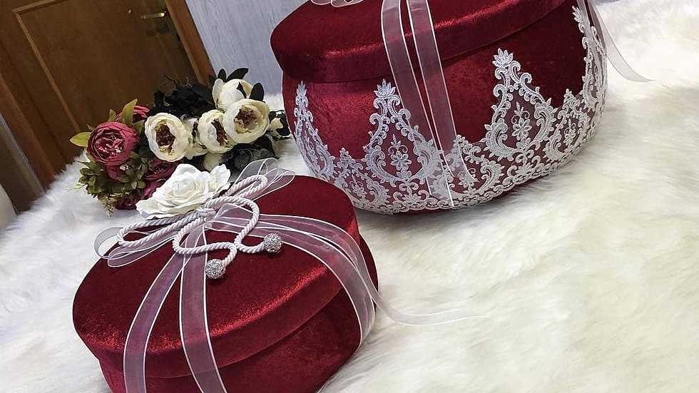 2 boxes set decorated with Luxurious velvet fabric