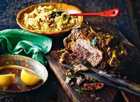 How about a Festive Garam Masala Roasted Leg of Lamb with Spiced Basmati Rice, Turmeric & Roaste