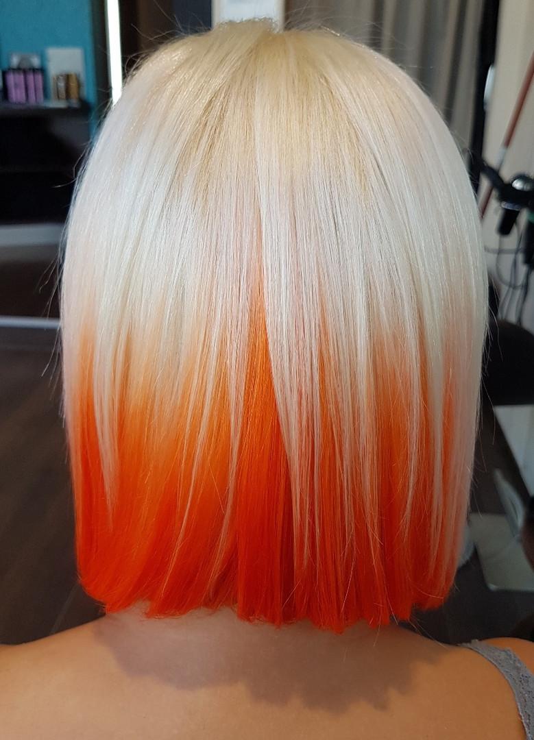 Oranžová farba, blond platina