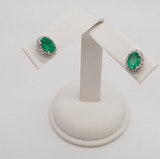Orecchini oro 750 - Smeraldi 1,70 ct - Diamanti 0,24 ct - Euro 410