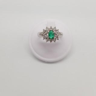 Anello in Platino 900 - Smeraldo 0,46 ct - Diamanti 0,70 ct - Euro 1.650