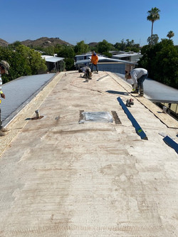 Spray foam roofing - before