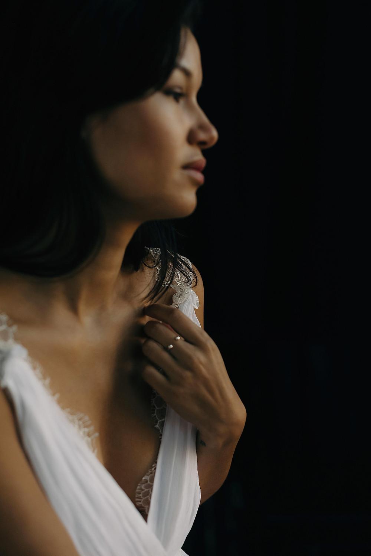 La Poésie silk chiffon and lace wedding gown Coralie portrait