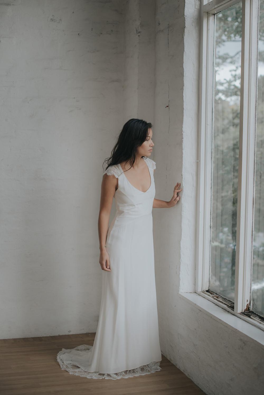 La Poésie silk and lace wedding gown Eve front view