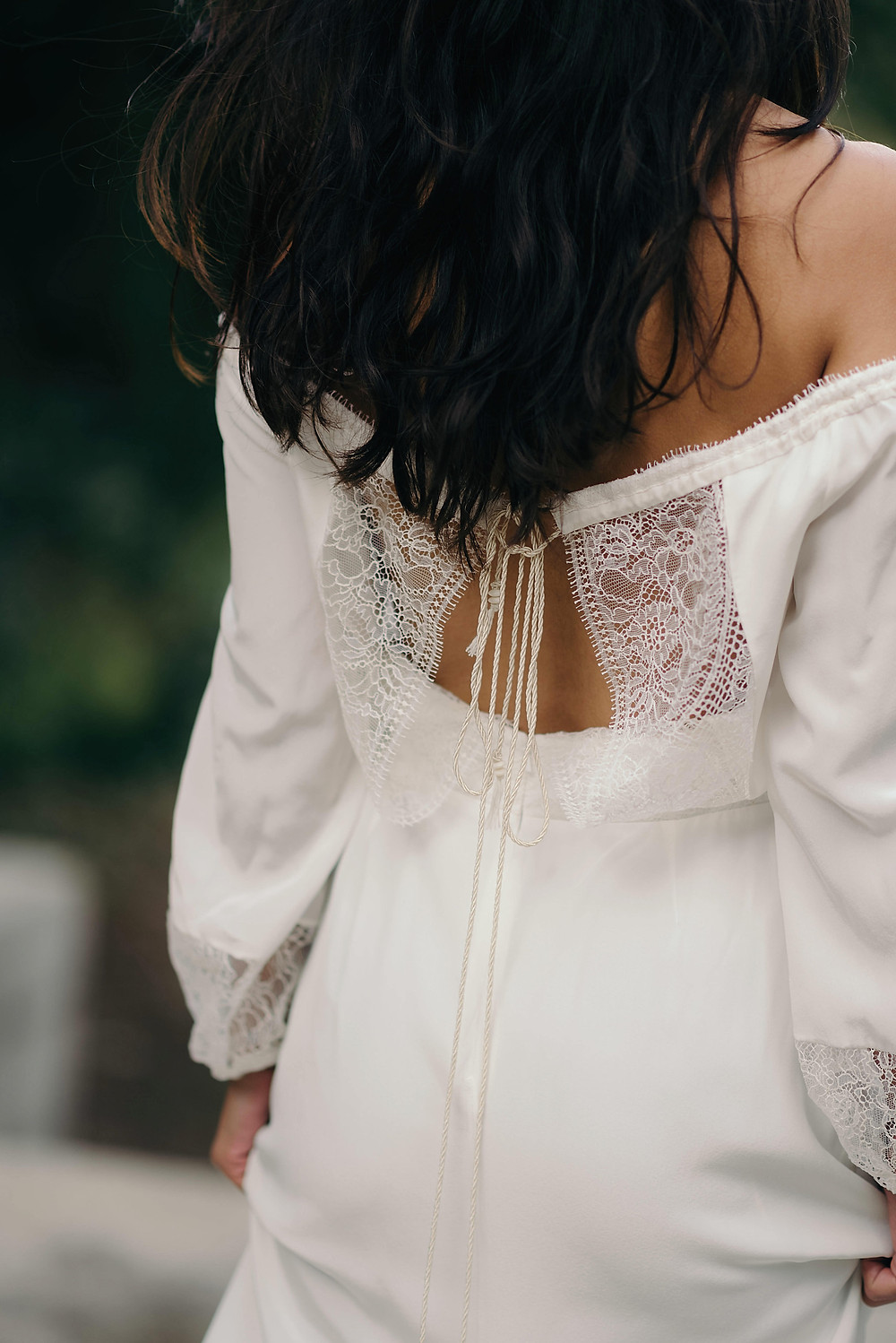 La Poésie silk and lace wedding gown Isolde back close up