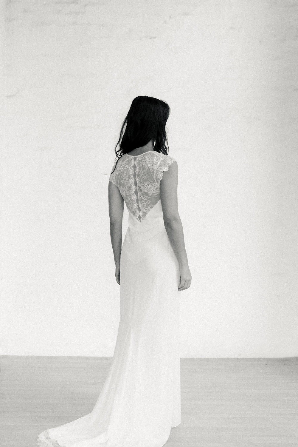 La Poésie silk and lace wedding gown Eve back view