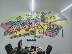 grafiti em escritorio colorido