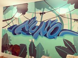 grafiti em quarto de menino 3d letras