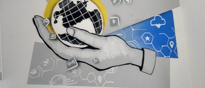 Grafiti em escritóro de tescnologia